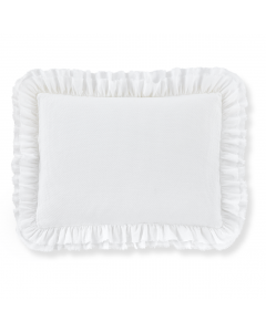 Set of Two White Ruffled 100% Cotton Pillow Shams - Available in Three Sizes