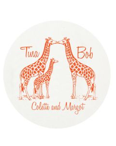 Giraffe Family Personalized Letterpressed Coasters