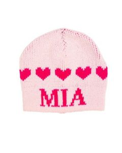 Personalized Strand of Hearts Design Hat - Regular or Earflap
