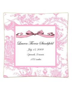 Pink Toile Personalized Birth Announcement Decoupage Plate-Available in a Variety of Sizes