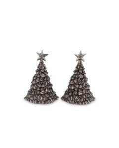 Pewter Christmas Tree Salt and Pepper Set Great for Holiday Entertaining