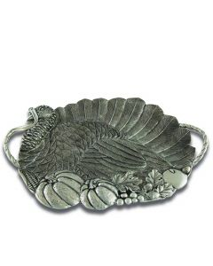 Pewter Turkey Serving Tray Thanksgiving Decor