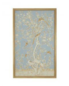 Blue and Gold Watercolor on Silk Chinoiserie Birds Wall Art 2 With Antique Gold Frame