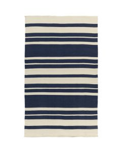Handwoven Navy & Cream Stripe Indoor/Outdoor Rug- Available in a Variety of Sizes - SELECTED SIZE ON BACKORDER, CALL TO CONFIRM AVAILABILITY