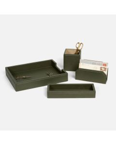 Pigeon & Poodle Asby Desk Accessory Set in Forest Full-Grain Leather