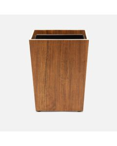 Pigeon & Poodle Harper Square Wastebasket in Dark Teak Veneer with Faux Bone Trim
