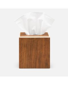 Pigeon & Poodle Harper Tissue Box in Dark Teak Veneer with Faux Bone Trim - ON BACKORDER UNTIL LATE JANUARY 2021
