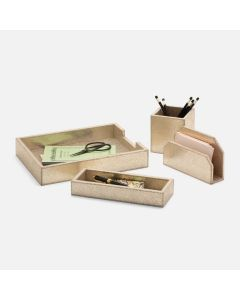 Pigeon & Poodle Viana Desk Accessory Set in Spotted Gold Foil on Full-Grain Leather