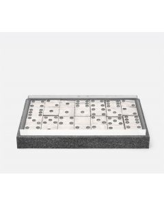 Pigeon & Poodle Treviso Faux Shagreen Oversized Domino Set in Cool Grey