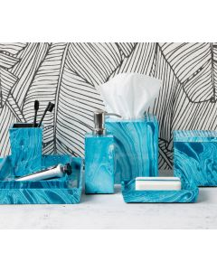 Pigeon & Poodle Blue Marbled Design Lacquered Wood Micco Bathroom Accessories Collection