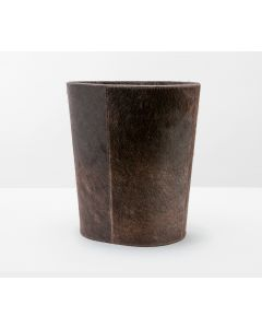 Pigeon & Poodle Brown Leather Hyde Oval Tapered Wastebasket