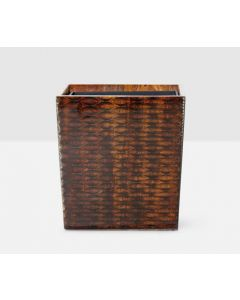 Pigeon & Poodle Durban Rectangular Wastebasket in Natural Teak Resin with Optional Tissue Box Cover