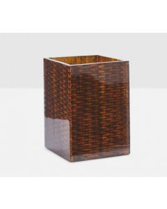 Pigeon & Poodle Durban Square Wastebasket in Natural Teak Resin Fish Scale Design with Optional Tissue Box Cover