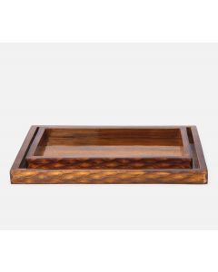 Pigeon & Poodle Durban Rectangular Tray Set in Natural Teak Resin Fish Scale Design