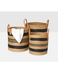 Pigeon & Poodle Hudson Striped Rustic Seagrass Basket, Set of 3