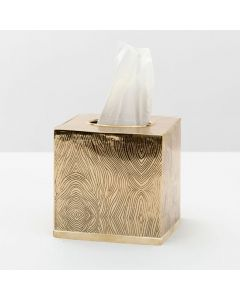 Pigeon & Poodle Humbolt Wood Etched Tissue Box in Brass