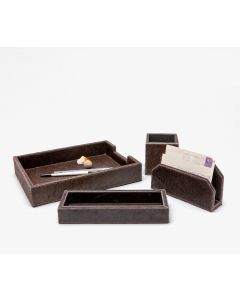 Pigeon & Poodle Hyde Desk Accessory Set in Brown Leather