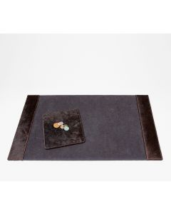 Pigeon & Poodle Hyde Brown Leather Desk Blotter and Mouse Pad Set