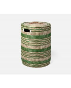 Pigeon & Poodle Olinda Multi-Strip Olinda Hamper in Green Natural Seagrass