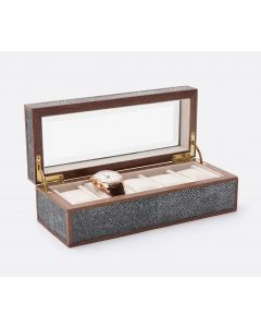 Pigeon & Poodle Elmbridge 5-Watch Box in Cool Gray Faux Shagreen