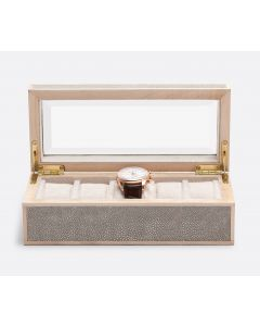 Pigeon & Poodle Elmbridge 5-Watch Box in Sand Faux Shagreen