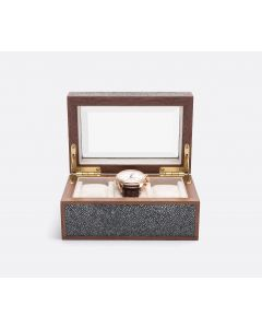 Pigeon & Poodle Elmbridge 3-Watch Box in Cool Gray Faux Shagreen