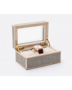 Pigeon & Poodle Elmbridge 3-Watch Box in Sand Faux Shagreen