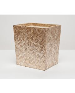 Pigeon & Poodle Handa Herringbone Capiz Shell Rectangular Waste Basket in Smoked