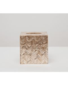 Pigeon & Poodle Handa Herringbone Capiz Shell Tissue Box in Smoked