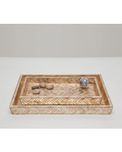 Pigeon & Poodle Handa Herringbone Capiz Shell Tray Set in Smoked