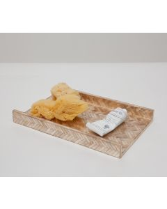 Pigeon & Poodle Handa Herringbone Capiz Shell Open Tray in Smoked