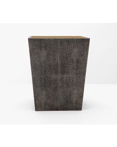 Pigeon & Poodle Crosby Rectangular Faux Shagreen Wastebasket in Dark Mushroom