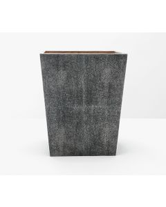 Pigeon & Poodle Crosby Rectangular Faux Shagreen Wastebasket in Cool Grey - ON BACKORDER