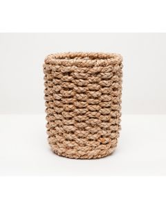 Pigeon & Poodle Destin Woven Seagrass Round Wastebasket with Optional Tissue Box