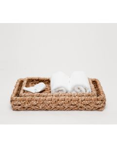 Pigeon & Poodle Destin Woven Seagrass Bathroom Bathroom Vanity Tray Set