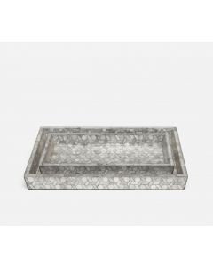 Pigeon & Poodle Melfi Capiz Shell Vanity Tray Set in Light Grey Capiz