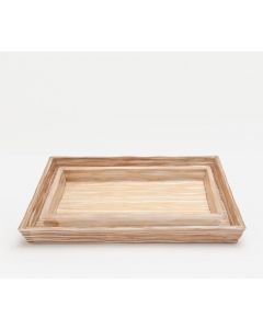 Pigeon & Poodle Montrose Bamboo Vanity Tray Set in White Strip