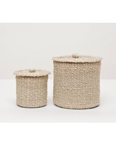 Pigeon & Poodle Chelston Woven Abaca Bathroom Canister Set in Bleached