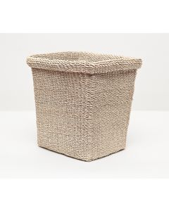Pigeon & Poodle Chelston Woven Abaca Rectangular Wastebasket in Bleached with Optional Tissue Box - ON BACKORDER