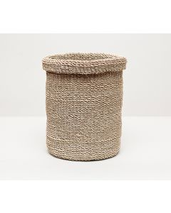 Pigeon & Poodle Chelston Woven Abaca Round Wastebasket in Bleached with Optional Tissue Box - ON BACKORDER