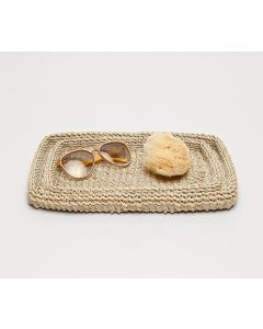 Pigeon & Poodle Chelston Woven Abaca Bathroom Bathroom Vanity Tray Set in Bleached - ON BACKORDER