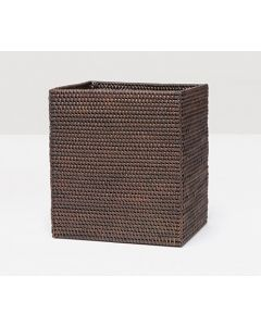Pigeon & Poodle Dalton Woven Rattan Rectangular Wastebasket in Coffee with Optional Tissue Box