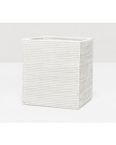 Pigeon & Poodle Dalton Woven Rattan Rectangular Wastebasket in White with Optional Tissue Box