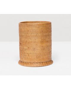 Pigeon & Poodle Dalton Woven Rattan Round Wastebasket in Brown with Optional Tissue Box