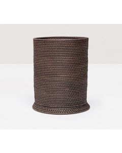 Pigeon & Poodle Dalton Woven Rattan Round Wastebasket in Coffee with Optional Tissue Box