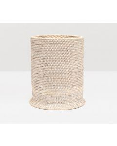 Pigeon & Poodle Dalton Woven Rattan Round Wastebasket in White Washed with Optional Tissue Box