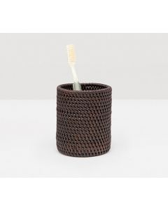 Pigeon & Poodle Dalton Woven Rattan Toothbrush Holder in Coffee