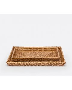 Pigeon & Poodle Dalton Woven Rattan Bathroom Bathroom Vanity Tray Set in Brown - ON BACKORDER UNTIL JANUARY 2020