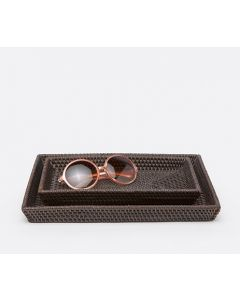 Pigeon & Poodle Dalton Woven Rattan Bathroom Bathroom Vanity Tray Set in Coffee