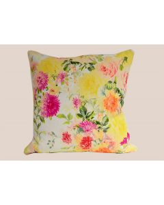 Pink and Yellow Hollyhock Flower Decorative Throw Pillow